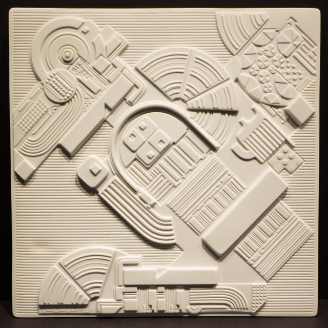 Porcelain wall sculpture or plaque in high relief by Pop Art Pioneer Eduardo Paolozzi. Produced by Rosenthal Studio Line...