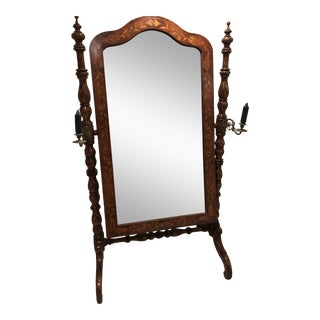 Dutch Mahogany Inlaid Marquetry Cheval Mirror With Candlesticks Circa 1840-1860 For Sale