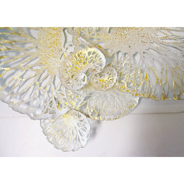 Asian White and Gold Lotus Iron Wall Sculpture by Fabio Ltd For Sale - Image 3 of 6