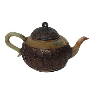 Antique Jade Handcarved Teapot Inlaid With 75 Ancient Qing Dynasty Coins For Sale