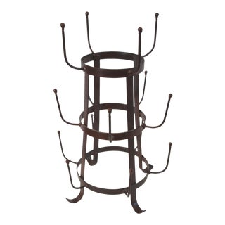 Rustic Iron Tabletop Bottle Drying Rack For Sale