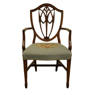1960's Antique Vintage Duncan Phyfe Shield Back Dining Arm Chair For Sale