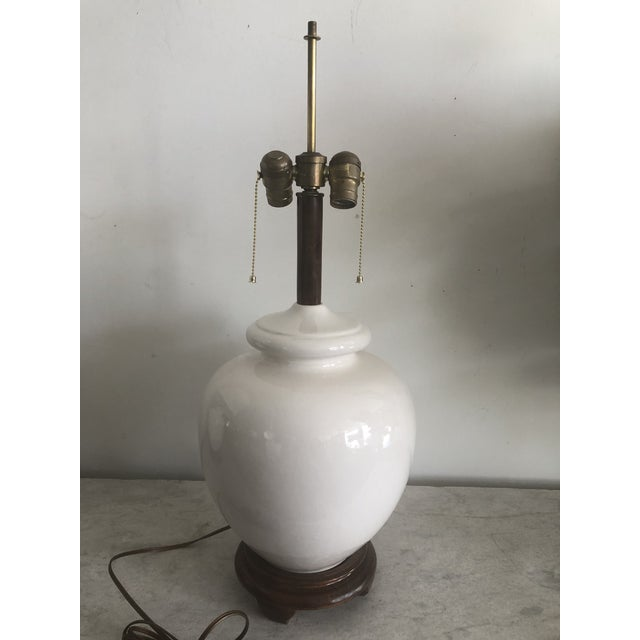 Ceramic Mid-Century White Turnip Shape Lamps - A Pair For Sale - Image 7 of 8