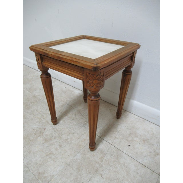 French 1930s French Carved Marble Top End Table For Sale - Image 3 of 12