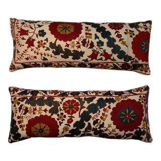 Vintage Suzani Hand Embroidered Lumbar Pillows - a Pair For Sale