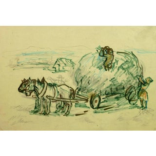 Irmgarg Von Reppert, Horses and Hay Wagon Ink Drawing For Sale