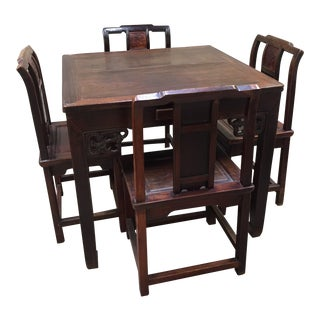 Late 19th Century Antique Chinese Gaming Table & Chairs- 5 Pieces For Sale