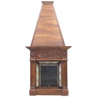 19th Century Walnut Fireplace Chimney For Sale