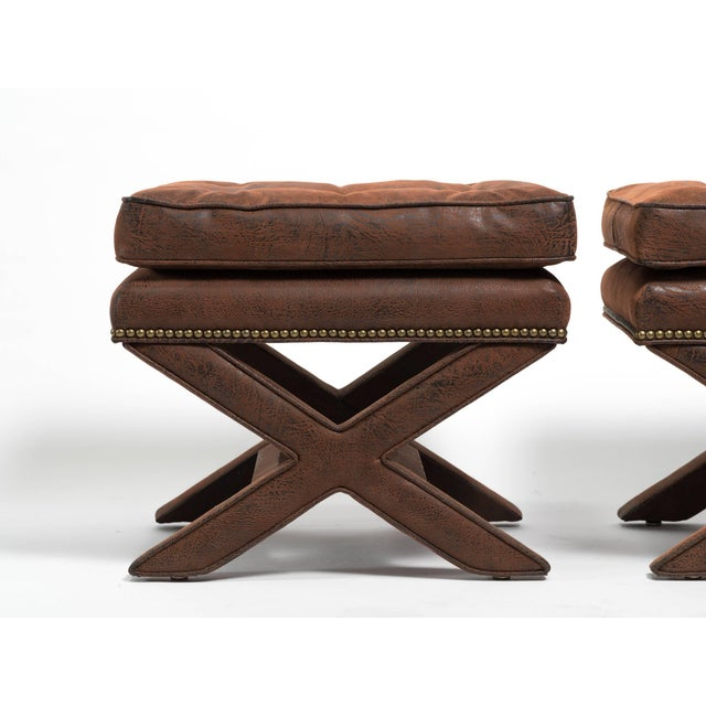 Hollywood Regency Billy Baldwin Style X-Benches - a Pair For Sale - Image 3 of 10