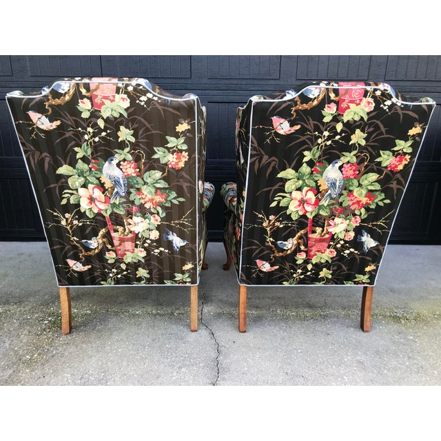 Asian Chinoiserie Upholstered Wing Bach Chairs For Sale - Image 3 of 13