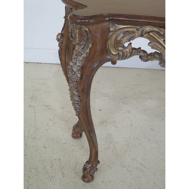 Walnut Modern Italian Carved Console Table For Sale - Image 7 of 11