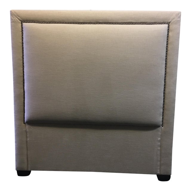 Linen & Bronze Twin Size Upholstered Headboard For Sale