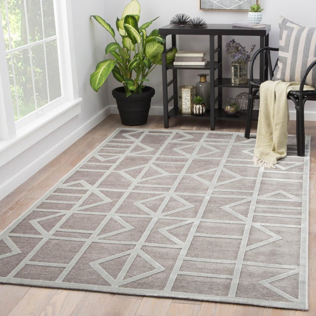 2010s Jaipur Living Cannon Geometric Gray/ White Area Rug - 7′6″ × 9′6″ For Sale - Image 5 of 6