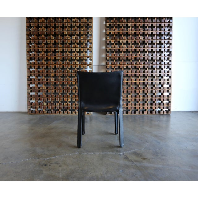 """Cassina Black Leather """"Cab"""" Chair by Mario Bellini for Cassina For Sale - Image 4 of 11"""