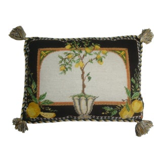 Needlepoint Pillow With Lemon Tree Black and Yellow For Sale