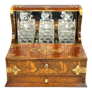 1908 Irish Oak Campaign Tantalus Box For Sale