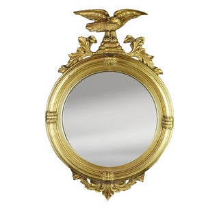 Early 20th Century Round Federal Mirror With Convex Glass For Sale
