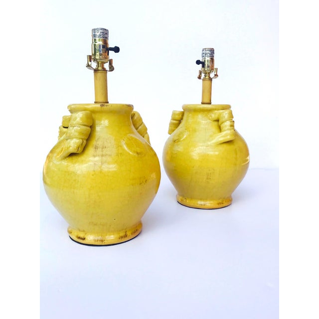 Pair of Elegant Chinese Pottery Lamps in Antique Yellow Glaze For Sale - Image 10 of 12