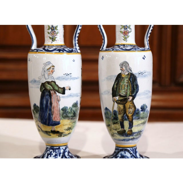 French 19th Century French Hand-Painted Brittany Vases Signed HB Quimper - a Pair For Sale - Image 3 of 13