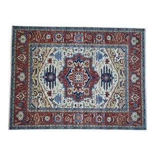 Hand-Knotted Wool Serapi Heriz Tribal Design Rug- 9′ × 11′9″ For Sale