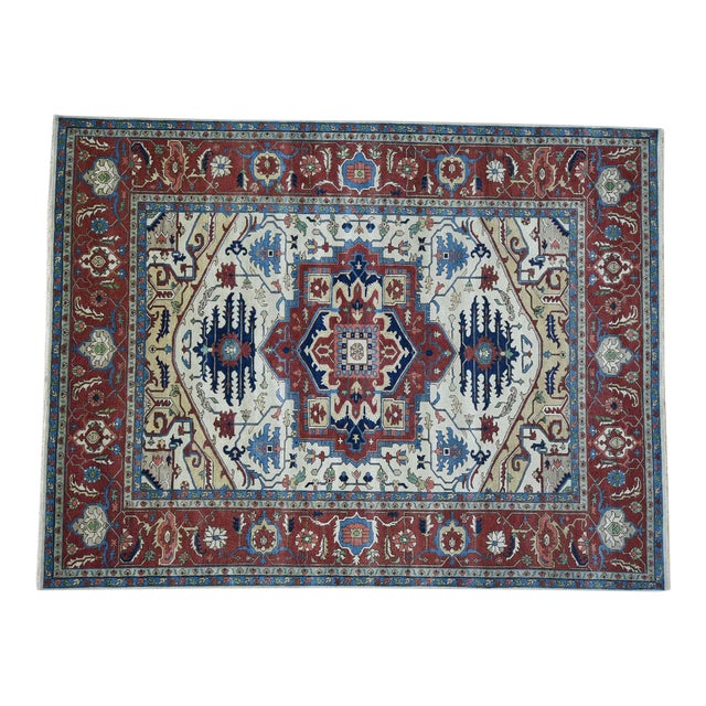 Hand-Knotted Wool Serapi Heriz Tribal Design Rug- 9′ × 11′9″ For Sale