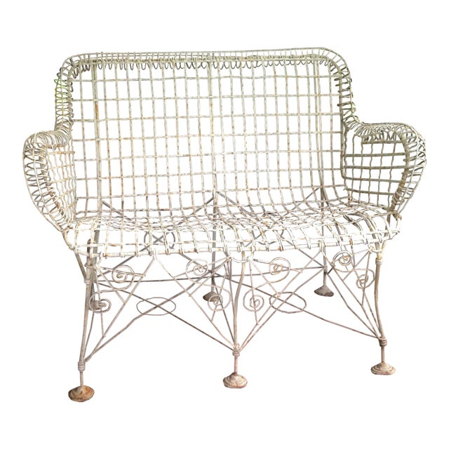1870s Vintage French Double Wired Iron Wire Victorian Garden Patio Settee For Sale