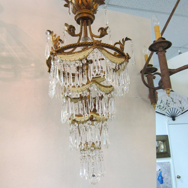 Vintage Brass & Crystal Chandelier with Tole Drape Accents. Gilded brass  design with drape detail - Vintage Brass & Crystal Chandelier With Tole Drape Accents Chairish