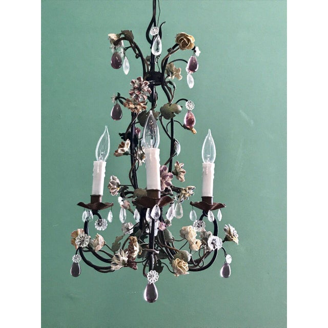 High end french tole chandelier with porcelain flowers mid 19th french tole chandelier with porcelain flowers mid 19th century image 7 of 7 mozeypictures Image collections