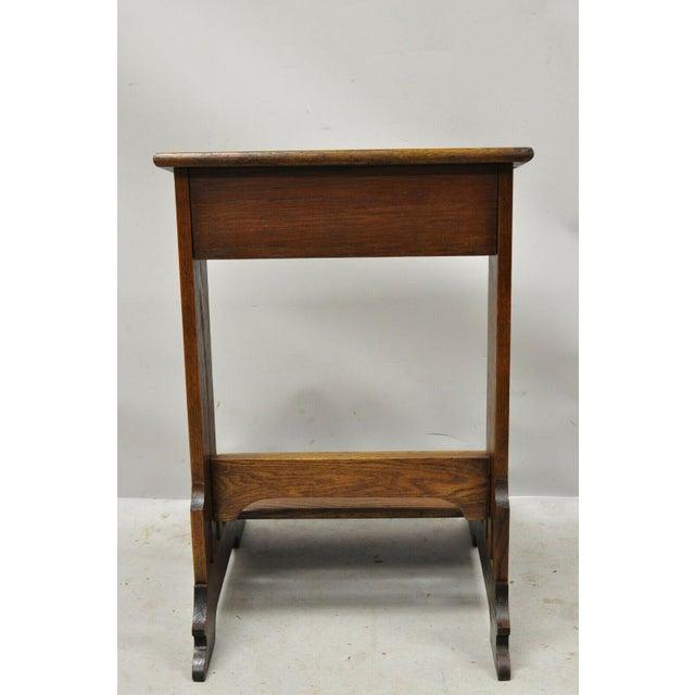 Vintage Arts & Crafts Mission Oak Wood Prayer Kneeler Kneeling Bench Seat For Sale - Image 11 of 12
