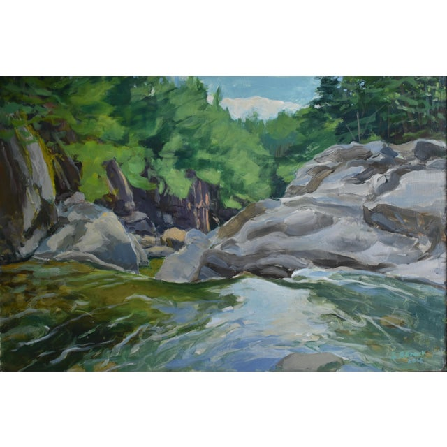 """Stephen Remick Contemporary Plein Air Painting, """"Above the Falls"""", by Stephen Remick For Sale - Image 4 of 6"""