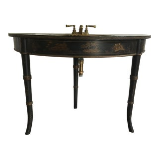 1940s Chinoiserie Black Bathroom Vanity With Brass Sink Faucet For Sale