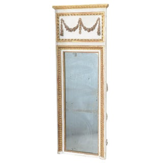 Narrow 19c. Painted and Parcel Gilt French Trumeau Mirror For Sale