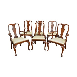 Henkel Harris Solid Cherry Traditional Set of 6 Queen Anne Style Dining Chairs