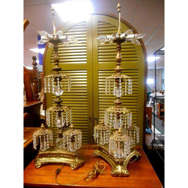 Vintage Hollywood Regency Brass Crystal Prisms Chandelier Table