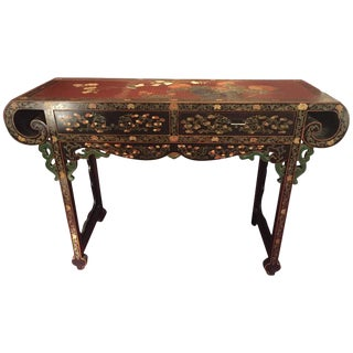 Vintage Asian Inspired Lacquer Prayer Altar Console Table