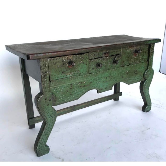 Antique Painted Guatemalan Nahuala Lion's Leg Folk Art Table With Five Drawers For Sale - Image 11 of 11