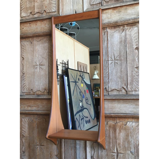 1960s Vintage Walnut Entry Mirror For Sale In Los Angeles - Image 6 of 11