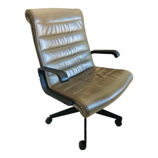 Knoll Modern Olive Green Leather Executive Chairs- Set of Six For Sale