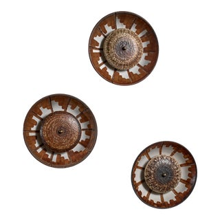 Set of Three Axella Stentøj Ceramic Wall Lamps, Denmark, 1960s For Sale
