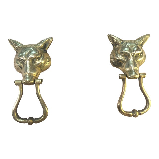 Pair of Solid Brass Fox Door Knockers For Sale