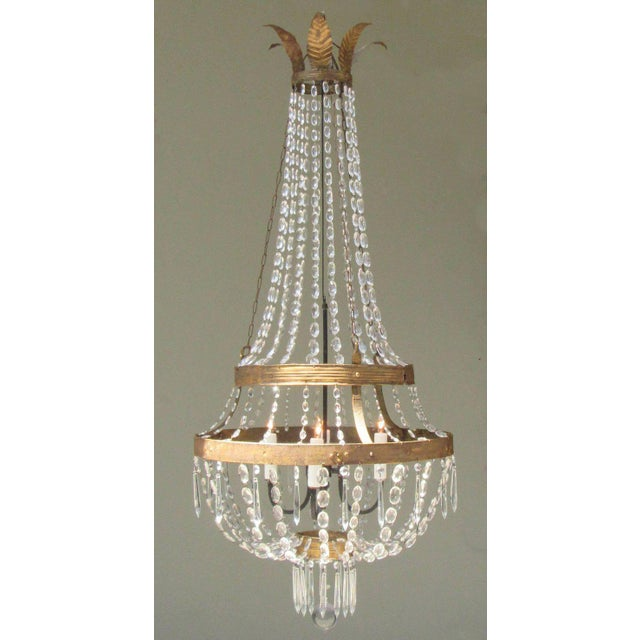 Crystal 18th Century Italian Empire Iron, Crystal and Tole Basket Chandelier For Sale - Image 7 of 7