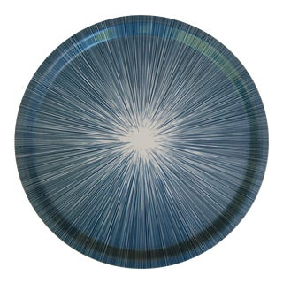 Shadow Lines Birchwood Circle Tray in Navy + White For Sale