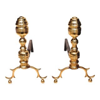 American Federal Brass Andirons - a Pair For Sale