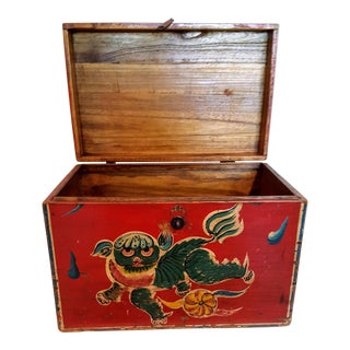 Antique Tibetan Elmwood Polychromed Box With Snow Lion