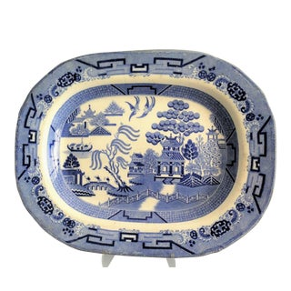 Large Staffordshire Blue Willow Platter
