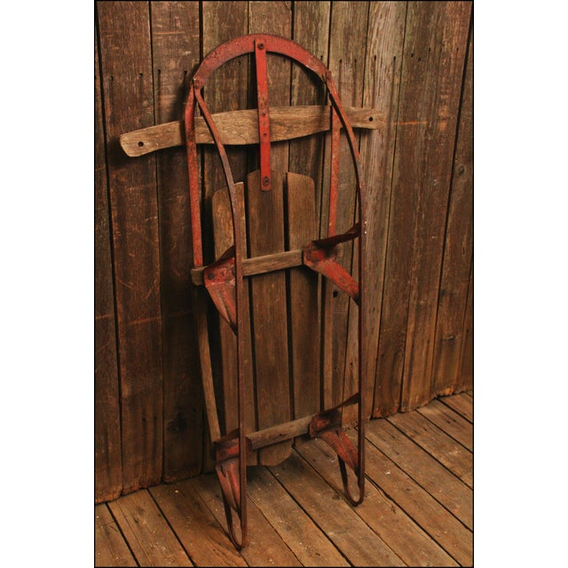 Vintage Weathered Wood & Metal Runner Sled -- Champion - Image 10 of 10