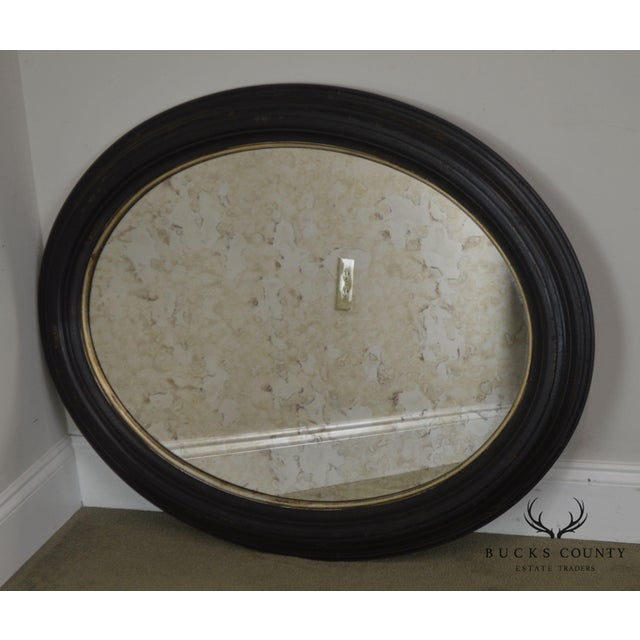 Roma Large Oval Frame Italian Wall Mirror For Sale - Image 4 of 13