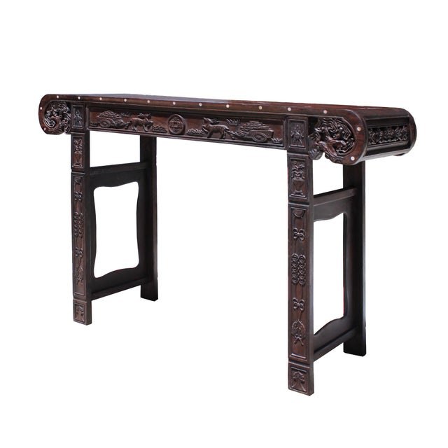 Chinese Brown Huali Rosewood Scroll Inlay Deer Fortune Motif Altar Table For Sale - Image 4 of 9