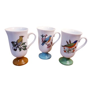 1960s Colorful Asian Bird Footed Mugs - Set of 3 For Sale