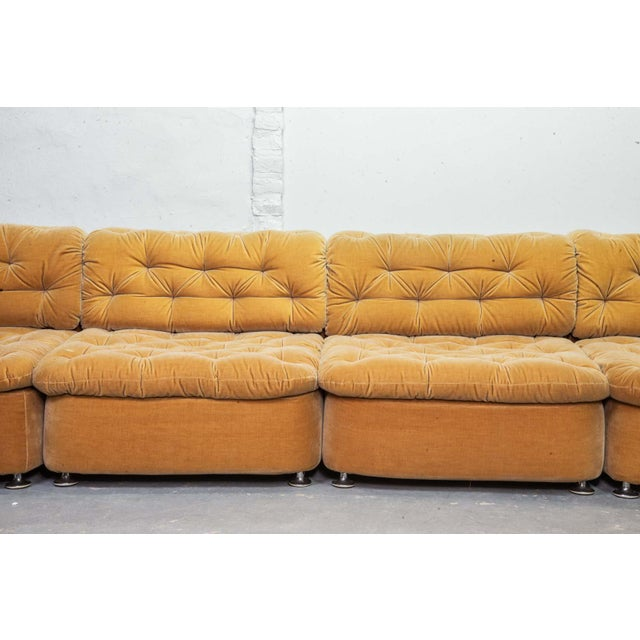 This sofaset contains six elements in a beautiful peach beige velvet upholstery. All elements are interchangeable, so...